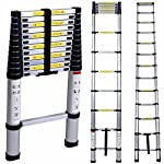 Oshion 12.5ft EN131 Aluminum Telescoping Telescopic Extension Ladder 330 Pound Capacity