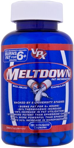 VPX Redline MELTDOWN Fat Burner, Bioliquid Capsules, 120-Count Bottle