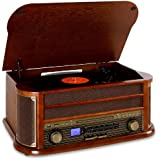 Auna RM1-Belle Epoque 1908 - Chaine stéréo rétro multifonction avec platine vinyle, Bluetooth, lecteur CD et K7, radio et enregistrement MP3 (USB, tuner AM/FM) - Bois et tissu vintage