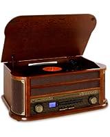 Auna RM1-Belle Epoque 1908 - Chaine stéréo rétro multifonction avec platine vinyle, Bluetooth, lecteur CD et K7, radio et enregistrement MP3 (USB, AUX, tuner AM/FM) - Bois et tissu vintage