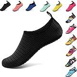 VIFUUR Water Sports Shoes Barefoot Quick-dry Aqua Yoga Socks Slip-on for Men Women Kids Black-42/43