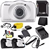 Nikon COOLPIX S33 Digital Camera (White) + EN-EL19 Replacement Lithium Ion Battery + External Rapid Charger + 32GB SDHC Class 10 Memory Card + Waterproof Floating Strap + SD Card USB Reader + Memory Card Wallet + Lens Cap Keeper + Deluxe Starter Kit Brand Specials Package