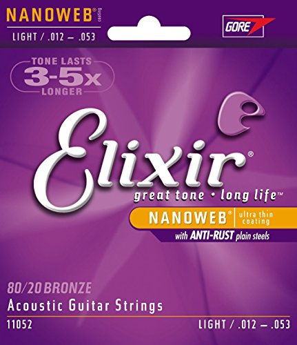 Elixir Strings 80/20 Bronze Acoustic Guitar Strings w NANOWEB Coating, Light (.012-.053) (What Is The Tracking Number compare prices)