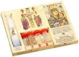7 in 1 Holy Land Mega Set Holy Water Soil Oil Incense, Crucifix Cross, Candles and Ancient Byzantine Icon by ChristianityWorld