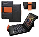 Ionic Tablet stand Leather for Amazon kindle Fire HDX 7 keyboard case bluetooth (Black Brown)