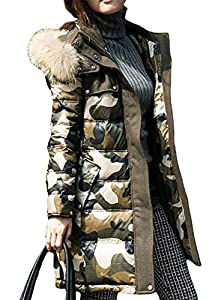 YUWa Women's Classic Casual Outerwear Thicken Camo Long Down Coat Winter Outwear Parka Hooded with Real Fur M