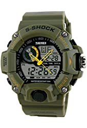 Fanmis Men's Sport Digital LED Watch Casual Military Multifunctional Wristwatch Water Resistant Green