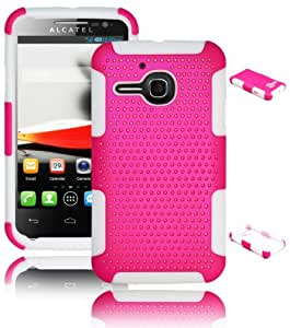 Bastex Heavy Duty Hybrid Case for Alcatel One Touch Evolve 5020T - White Silicone / Pink Hard Mesh Cover