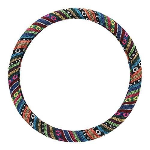 Kensun® Automotive Steering Wheel Cover - Multi-Color Tribal Patterned Hand Woven Material Odorless Inner Ring - 15.35in Diameter (Steering Wheel Cover Pattern compare prices)