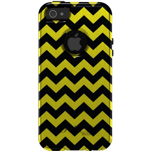 Special Sale CUSTOM OtterBox Commuter Series Case for iPhone 5 5S - Chevron Stripes Zig Zag (Black & Yellow)