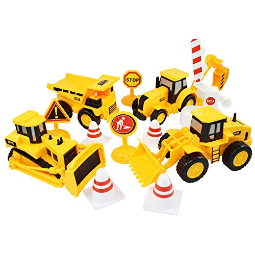 Construction Toy Trucks Complete Equipment Job Site set Friction Powered Vehicles- Dump Truck, Wheel Loader, Backhoe & Bulldozer w/ Road Signs, Cones and Boom Gate (Mini Toy Construction Cones compare prices)