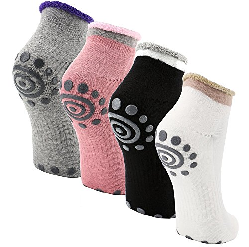 Reehut Non-Slip Skid Yoga Socks w/ Grip for Exercise, Training, Workout, Fitness & Pilates