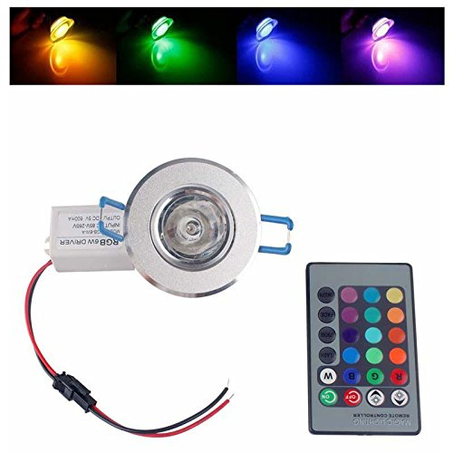 6W Rgb Color Change Led Recessed Lamp Ceiling Spotlight + Remote Controler