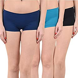 Mynte Women's Sports Shorts (MEWIWCMBP-SHR-105-104-100, Navy Blue, Blue, Black, Free Size, Pack of 3)