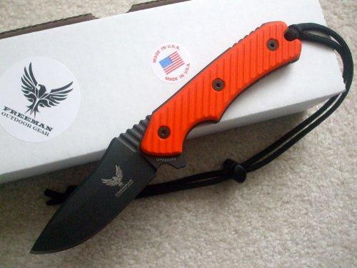 Freeman Outdoor Gear Compact 451 Fixed Blade Knife Black Blade Orange Handle