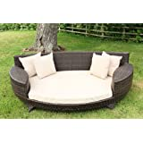 Love Sofa / Day Bed Brown All Weather Synthetic Outdoor Rattan Garden Furniture Loungerby Wovenhill Rattan...