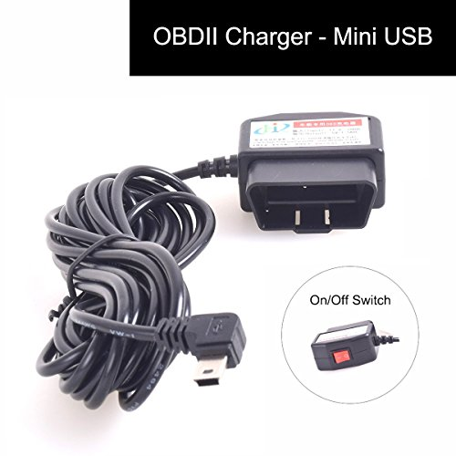 E-KYLIN Auto OBD2 Charging Cable Mini USB Power Adapter with Switch Button - 16Pin OBD2 Connector Direct Link Car Charger for Gps DVR Dash Cam E-dog Phone - 3M/11.5FT Wire - 12-24V (Direct Port Switch compare prices)