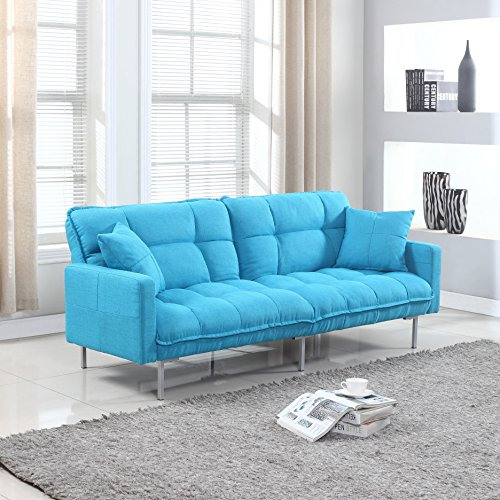 Divano Roma Furniture Collection - Modern Plush Tufted Linen Fabric Splitback Living Room Sleeper Futon (Light Blue) (Light Blue Futon compare prices)
