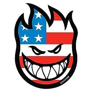 Spitfire Wheels Flaghead Fireball Skateboard Sticker - USA / US Flag skate board flame fire skate skateboarding sk8 stars and stripes