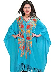 Exotic India Blue-Atoll Ari-Embroidered Cape From Kashmir - Blue