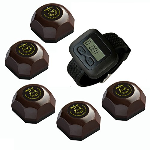 SINGCALL® Wireless Restaurant Service Calling System,for Cinema,Pack of 5 pcs Table Buttons and 1 pc Wrist Watch Reciever