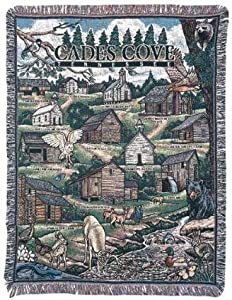 """Cades Cove Tennessee Tapestry Throw Blanket 50"""" x 60"""" USA Made"""