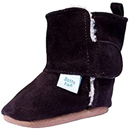 Dotty Fish Unisex Baby\'s Soft Suede Boots 6-12 months Brown