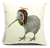 Bumud Cotton Linen Animal Square Decorative Throw Pillow Case Cushion Cover (Bird)