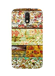 RICKYY _G4plus_1156 Printed Matte designer Flowers on the wood case for Moto G4 Plus