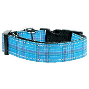 Mirage Pet Products Plaid Nylon Collar, Medium, Blue