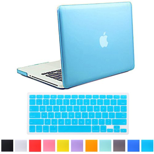 "HDE Matte Hard Shell Clip Snap-on Case + Matching Keyboard Skin for MacBook Pro 13"" (Non-Retina) - Fits Model A1278 (Light Blue)"
