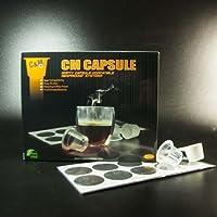CM Caspule -Box of 100pcs Clear color Empty Capsule Compatbile Nespresso(Fillable Tea or Coffee) +100pcs CM Lids (Self Adhesive Aluminium Lid)