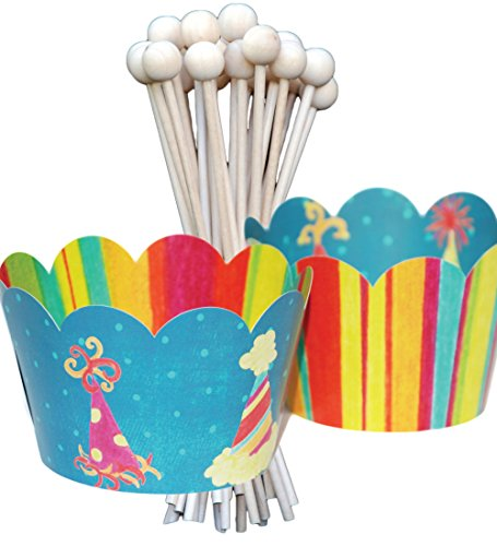 Vintage Birthday Party Cupcake Wrappers and Lollipop, Cake Pop Sticks, Fiesta Party Hats, Colorful Stripes, 72 pieces