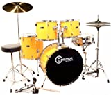 Full Size Yellow Drum Set with Cymbals Stands Sticks Stool