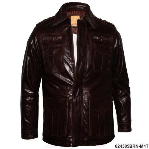 Mens Brown Mid Length Leather Hunter Jacket M6T Size XXL - Double Extra Large