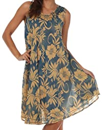 Sakkas Floral Embroidered Tank Sheath Caftan Dress