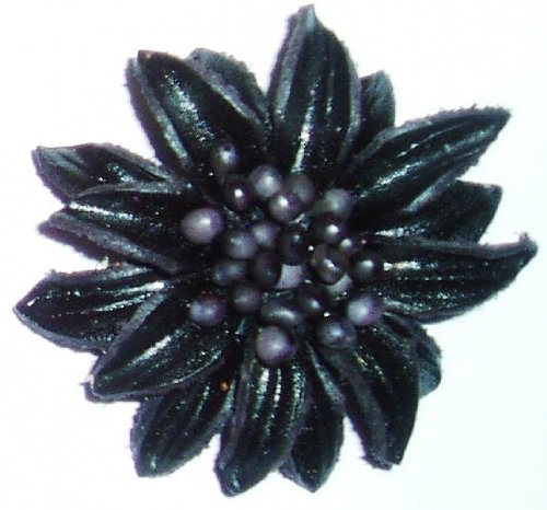 Tribe Leather Mini Brooches - Pair Of Black Brooches