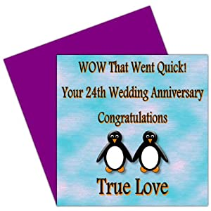 On Your 24th Wedding Anniversary Card - 24 Years - Musical Anniversary ...