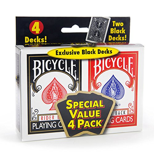 Bicycle Standard Index (4 Pack , Black/Red)