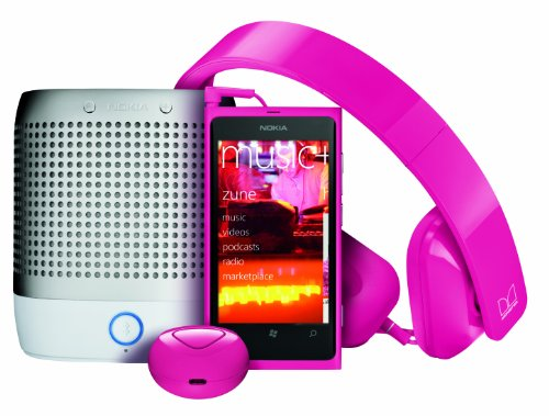 Nokia Lumia 800 Unlocked Phone With - Purity Hd Headset By Monster & Nokia Play 360 Portable Wireless Speaker & Nokia Luna Bluetooth Headset (Magenta)