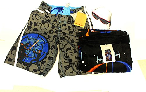 Disney Star Wars Boys SwimTrunks, Beach Towel, and R2-D2 Sunglasses. Size 4, 5/6, and 7/8 (4)