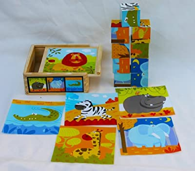 Toys of Wood Oxford Wooden Blocks Jigsaw Puzzles - 9 Cubes of Wild Animals in a Wooden Box