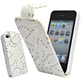 Mobile Bar Diamond Blanc Housse étui coque cuir avec rabat pour Apple iPhone 4 4S (Inclure Film Protection ecran)
