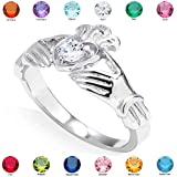 Women's Fine 925 Sterling Silver Custom Personalized CZ Heart Birthstone Claddagh Ring