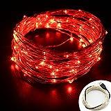 OFTEN LEDイルミネーションライト10M 100球 USB式電飾 フェアリーライト 銅線ワイヤー 10メートル 100電球のストリングライト LEDライト 祝日、クリスマス、結婚式、ガーデン、パーティー、室内などに雰囲気付きの飾りライト 7色入れ(レッド)