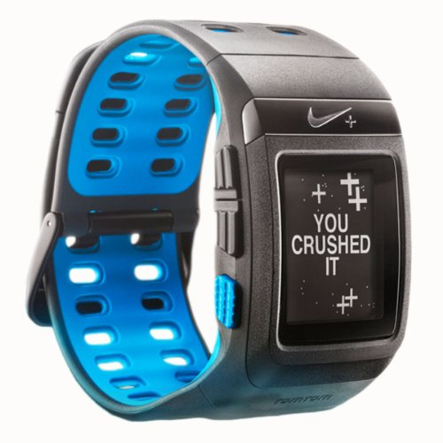 Nike+ SportWatch GPS Powered by TomTom- Sensor Not Included (Anthracite/Blue Glow) Running Gps