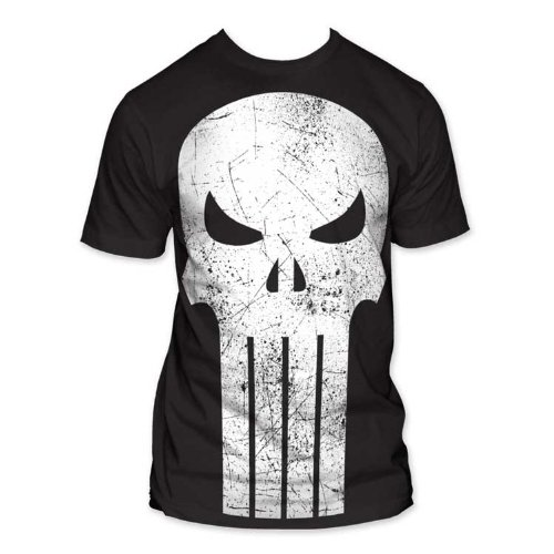 Marvel Comics - Mens The Punisher Oversized Logo Big Print Subway T-Shirt In Black, Size: Large, Color: Black