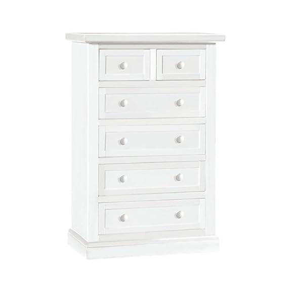 Settimanale, stile classico, in legno massello e mdf con rifinitura in bianco opaco - Mis. 63 x 37 x 98