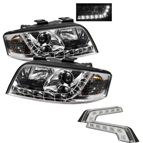 Carpart4U Audi A6 Drl Led Chrome Projector Headlights And Led Day Time Running Light Package