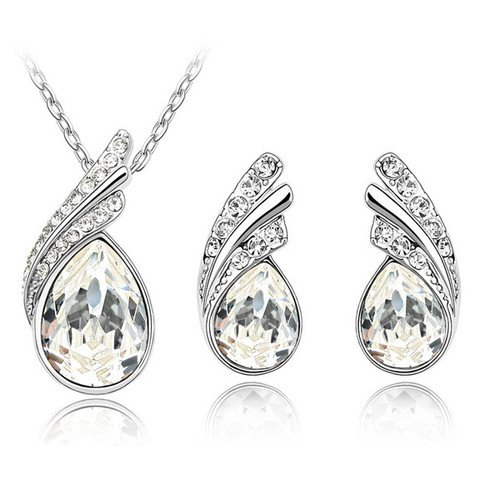 Stylish Bridal Jewellery Set White Crystal Wings Studs Earrings & Necklace S226